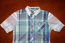 VOLCOM Blue Short Sleeve Button Down Shirt | Medium Slim Fit ø Element Hurley