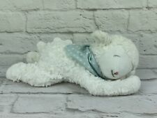 "12"" Bunnies by the Bay Plush Musical White Lamb Blue Polka Dot Scarf Baby Lovey"