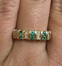 10k Yellow Gold Emerald Diamond accent Double row Wedding Band Anniversary Ring