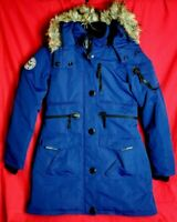 NOIZE Women M Long Blue Quilted Faux Fur Removable Hood Full Zip Parka Jacket