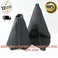 BMW MINI COOPER ONE R50/R53 S ONE 2001-2006 GEAR & HANDBRAKE GAITER WHITE STITCH