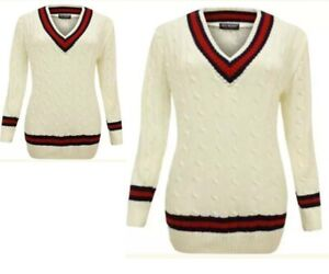 Mens Cricket Jumper V Neck Long Sleeve Casual Wear Cable Knitted Tank top S -XXL