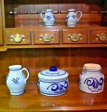 5 Vintage Pieces of Staffel Stoneware Mid century Modern 1950's W Germany Blue