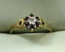 1960's Vintage Pretty 9 carat Gold Small Ruby And Diamond Cluster Ring Size N