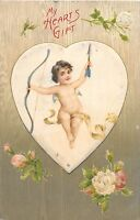 E2/ Valentine's Day Love Holiday Postcard 1908 Cupid Arrow Heart Frame 23