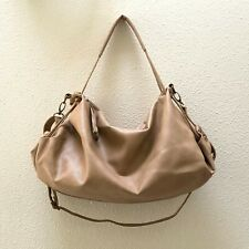 Brown Tan Faux Leather Hobo Bag Purse Lightweight Crossbody Bag EUC