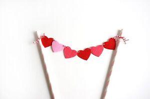 Red Pink Heart Banner Garland Birthday Cake Topper Wedding Anniversary Decor USA
