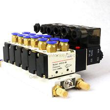 4V210-08 DC 12V 2 Position 5 Way 6 Pneumatic Solenoid Valve Muffler Base