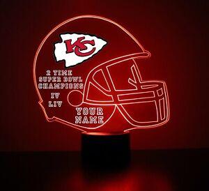 Kansas City Chiefs Night Light, Football LED Sports Fan Lamp, Personalized FREE