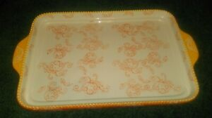 Temptations Floral Lace Pumpkin 13x9 Lid it  Cookie Sheet Serving Tray