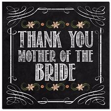 Vintage Chalkboard Thank you Mother of the Bride wedding card shabby chic