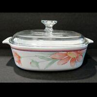 Vintage CORNING WARE Peony Flower A-2-B 2L Casserole Baking Dish Pyrex Lid