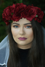 Hen Party Dark Red Floral Crown and Veil - Hen Party Accessories