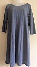 J Jill  Long Sleeve ALine Knit Dress Sz SMALL Heathered Blue Stretch AC Friendly