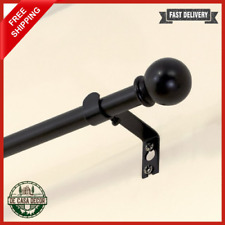 "Single Curtain Rod 28-48"" Modern Design Two Decorative Ball Finials Metal Black"