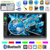 """7"""" Double 2 DIN HD Car FM Stereo Radio MP5 MP3 Player Touch Screen Bluetooth Aux"""