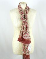 ALICE BARNABE Scarf Pink Floral Print Lace Trim Cream Ditsy Boutique Elegant