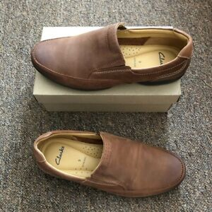 Clarks Mens Tan Leather Casual Shoes Size 9 Extra Wide