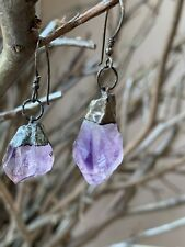 Vintage 925 Sterling Silver Earrings With Amethysts