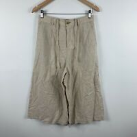 Uniqlo Womens Pants Size Medium W28-29 Beige Wide Leg Linen Blend 3/4 Length