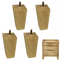 Solid Wood Furniture Legs 4 inch Tapered Sofa Legs for Couch Dresser Cabinet Bed