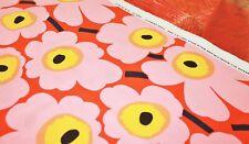 Marimekko fabric orange/pink/yellow Pieni Unikko 145x48cm by Maija Isola