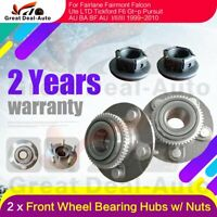 Pair Front Wheel Bearing Hubs Hub + Nuts for Ford Falcon Fairlane AU BA BF SX SY
