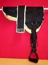 NEW Micro suede BAREBACK PAD with Stirrup and girth BLACK SIZE PONY - COB