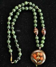 Exquisite Vintage Chinese Cloisonne, Grade A Jade with Silver Clasp Necklace
