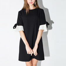 Haoduoyi Women Elegant Vestidos Bownot Sleeve Casual Party Shirt Dress Black XL