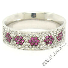 14k White Gold 0.85ctw Pave Diamond Ruby 6.30mm Flower Cluster Band Ring Sz 6.5