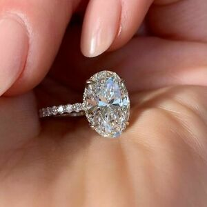 3.50 TCW Oval Cut Brilliant Diamond Engagement Ring In 14k White Gold Plated