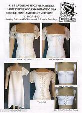 Ladies' Regency & Romantic era Corset Laughing Moon Costume Sewing Pattern 115