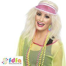80s 90s NEON PINK GOLFER POKER VISOR HAT CAP RAVE ladies fancy dress costume