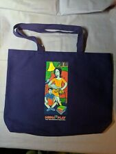 "Vintage ~ Media Play Dark Purple Tote Hand Bag Enviro Tore Made in USA 19"" x 14"""