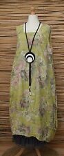 LAGENLOOK LINEN OVERSIZED FLORAL 2 POCKETS DRESS**OLIVE-LIME** XL-XXL BUST 52-54
