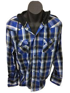 PO Box Mens Western Campdraft BlueWhite Black Pearl Snap LS Hoodie Shirt Sz XXL