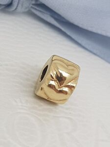 Authentic Pandora 14ct 14k Gold Beating Heart Clip Charm NRP $399 750243