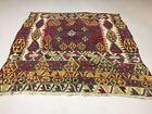 Vintage Turkish Kilim Kelim Rug shabby wool,Moroccan boho square 180x180cm Large