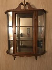 Vintage Butler Curved Glass Curio Display Case Mirror Wall 3 Shelf Cabinet