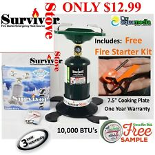 Coleman-Style Single Burner 10,000BTU Propane Camp Stove, FREE Firestarter kit
