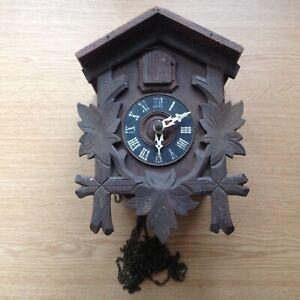 Vintage Black Forest Mechanical Cuckoo Clock German To Repair 14x14x11cm