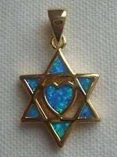 18K Gold 2 Microns Star of David 6 Opals & Heart Shape Opal in Center