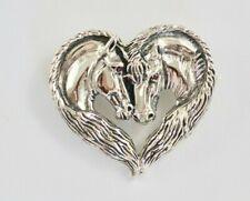 Beautiful Two Horse Head Love Brooch 925 Sterling Silver