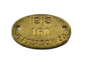 Antique 1913 Dog License Jefferson County Pennsylvania Exonumia Token