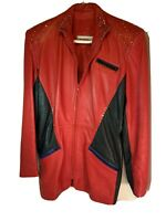 Saks Fifth Avenue Womens Red Leather Jacket Small