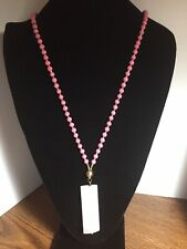 "Jemology Rose Quartz Necklace Long 30"" + Features Beaded Chain NWT Gorgeous!"
