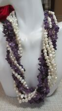 Ross Simons Sterling Silver Freshwater Pearl & Amethyst Multi-Strand Necklace