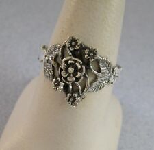 Mexican 925 Silver Taxco Antiqued Cut Out Oxidized Filigree Flowers Ring Sz 5.75
