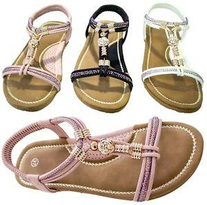 Flat Sandals Diamante Elastic Strap Open Peep Toe Summer Beach Shoes Womens Size